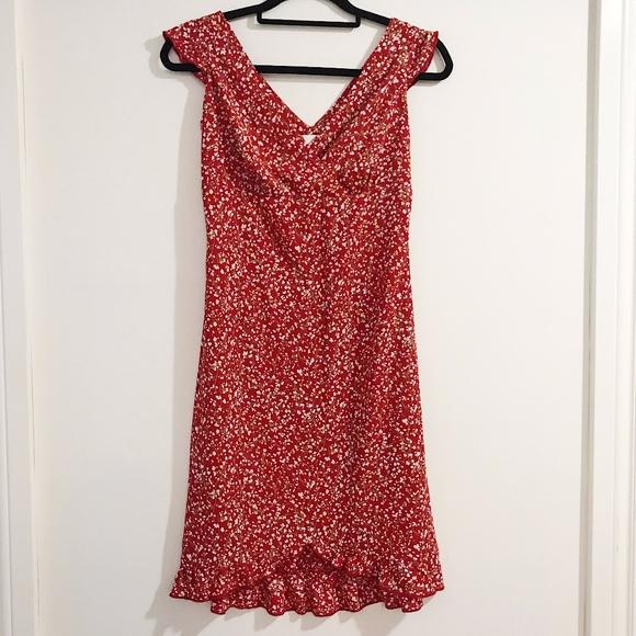 Esprit Vintage Red Floral Sweetheart Ruffled Dress